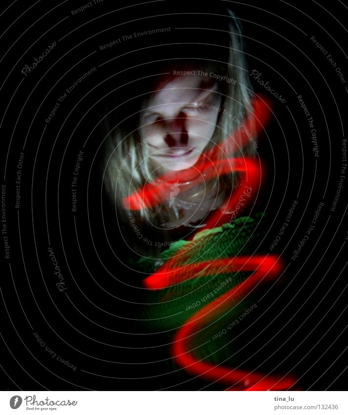 come into the light... addendum Red Light Green Dress Stripe Dark Visual spectacle Experimental Long exposure Woman Whirlpool Spiral Witching hour Traffic light