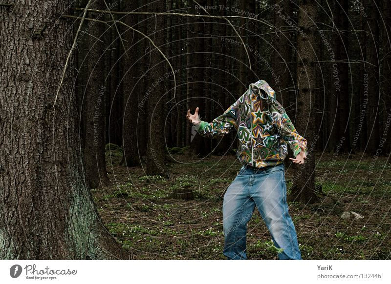 Man Hand Tree Joy Colour Forest Crazy Star (Symbol) Jeans Branch Pants Feces Jacket Stupid Twig Absurdity