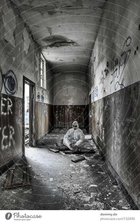 Man Old White Loneliness Window Wall (building) Graffiti Wood Brown Door Footwear Dirty Planning Stand Clean Derelict