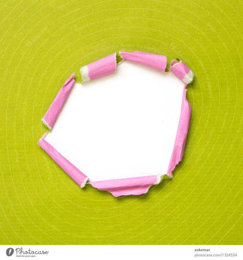 Green White Pink Decoration Paper Mysterious Discover Surprise Crack & Rip & Tear Hollow Piece of paper Stationery Torn Opening