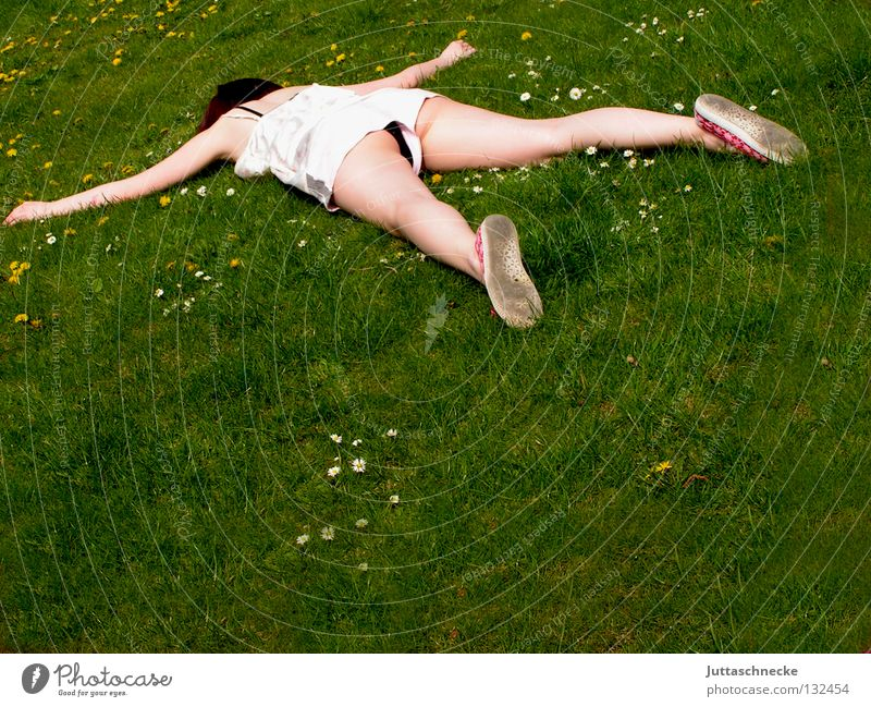 Woman Meadow Death Grass Garden Legs Arm Sleep Lawn Lie To fall Transience Fantastic Fatigue Flower meadow Completed