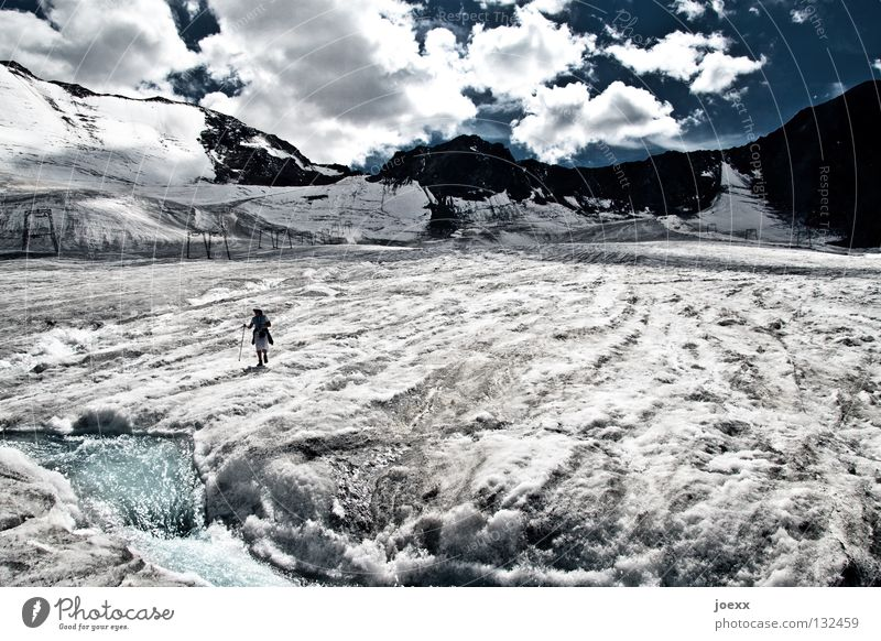 Human being Man Water Sky Blue Clouds Loneliness Cold Snow Mountain Freedom Gray Lanes & trails Ice Fear Dirty