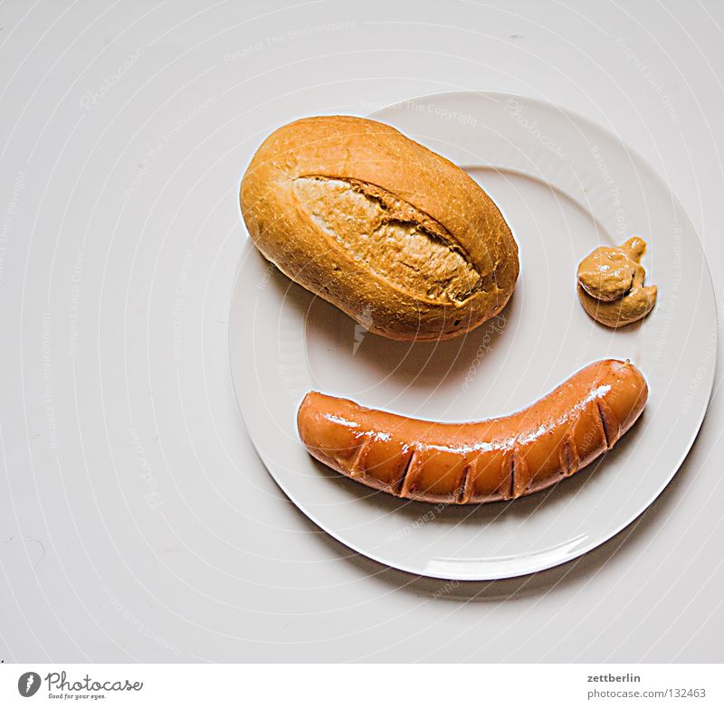 Nutrition Kitchen Gastronomy Plate Patch Roll Sausage Bratwurst Fast food Crunchy Pirate Jubilee Childrens birthsday Food Mustard Slow food