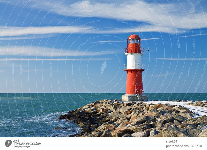 eastern pier Ocean Winter Nature Landscape Water Clouds Coast Baltic Sea Tower Lighthouse Architecture Landmark Stone Cold Blue Red White Colour