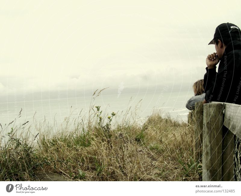 Woman Man Green Ocean Clouds Cold Wood Grass Think Brown Wind Gloomy Desire Hill Concentrate Handrail