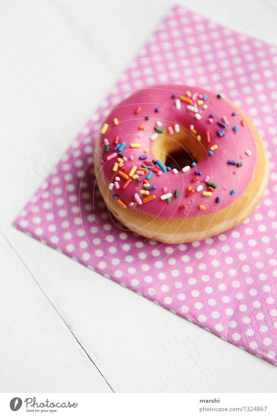 donut for free Food Dessert Candy Chocolate Jam Nutrition Eating Moody Pink Donut Calorie Rich in calories Granules Napkin Food photograph Snack Colour photo