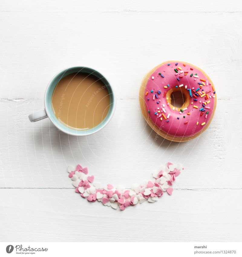 SMILE - it´s time for a coffee and donut Food Dessert Candy Nutrition Eating Beverage Drinking Cold drink Coffee Latte macchiato Espresso Cup Emotions Moody