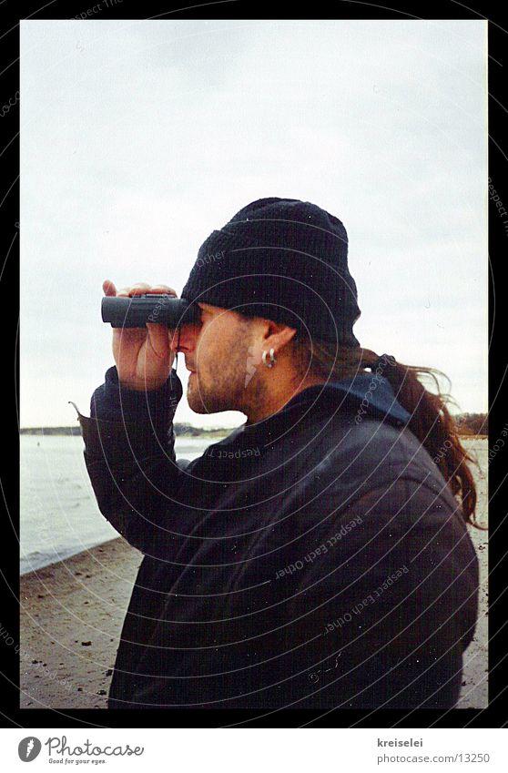 the tensioner Binoculars Man Vantage point Voyeurism Looking Far-off places Observe