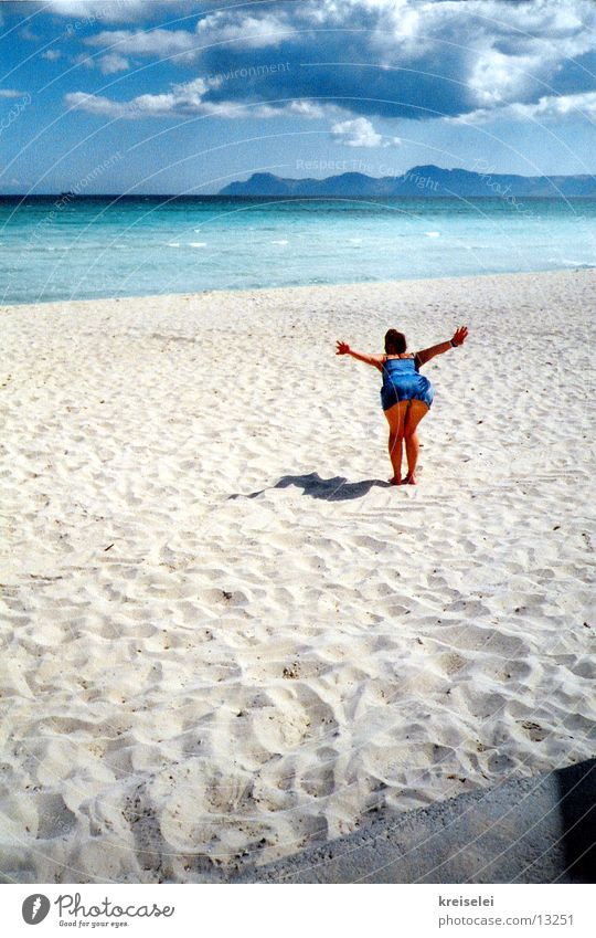 Woman Sky Water Girl Blue Ocean Beach Clouds Flying Sandy beach