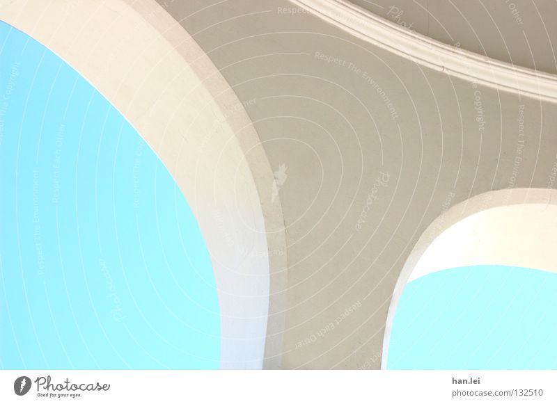arch Sky Building Roof Simple Bright Round Blue White Curved Bend Carrier Geometry Arch Column Detail Light Architecture Blue sky Cloudless sky Deserted