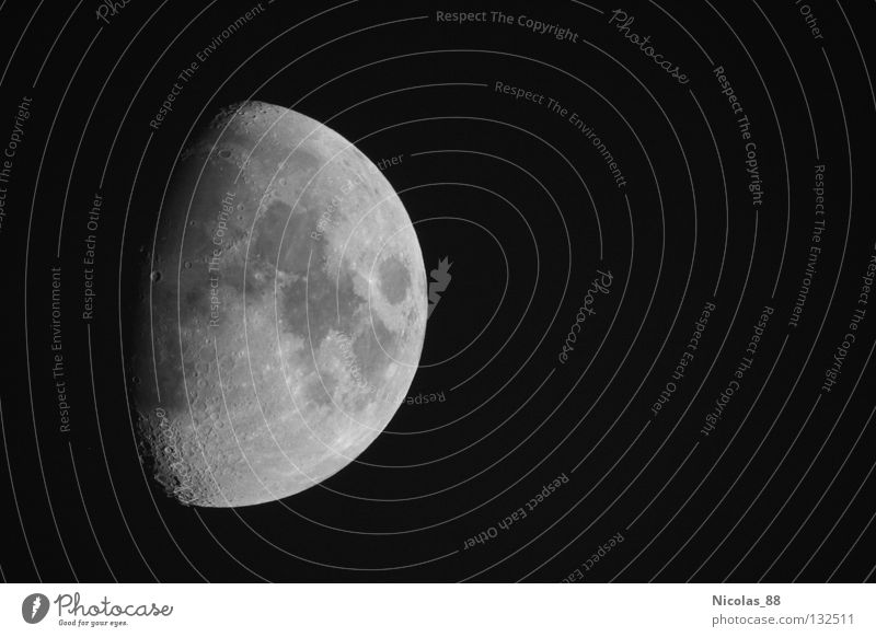 The Earth Moon - the Earth's only natural satellite Moonlight Telescope Half moon Night Heavenly Fascinating Astronomy Celestial bodies and the universe