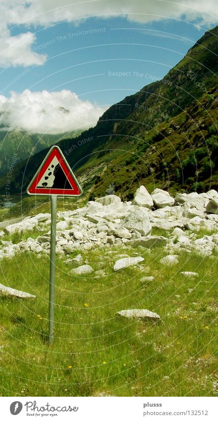 ATTENTION Rockfall Dangerous Testing & Control Gravel Natural catastrophe Geology Limestone Stone Switzerland Summer Extent Force of nature Signs and labeling