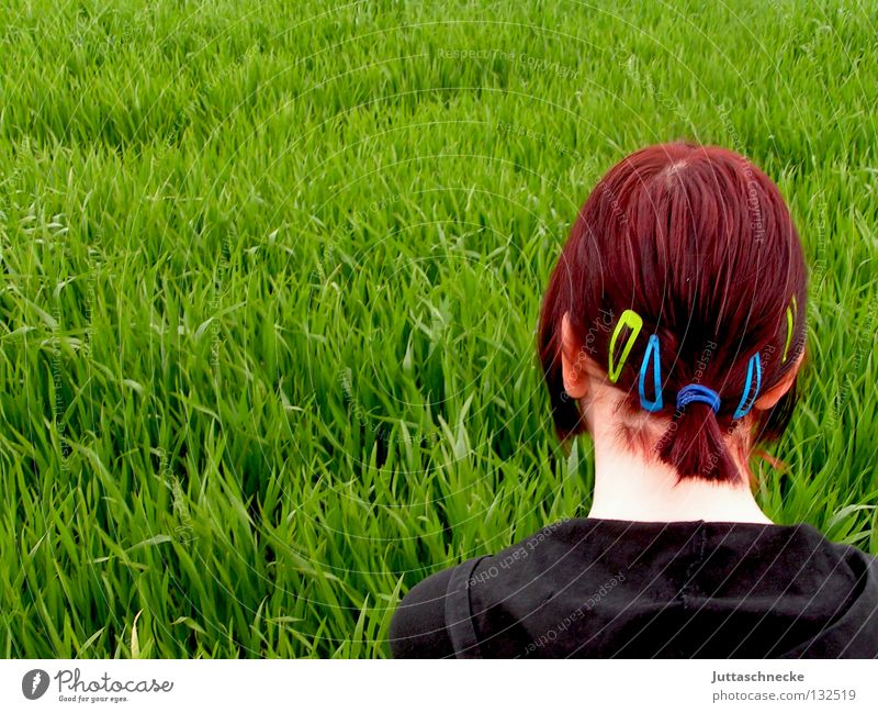 Woman Nature Green Red Black Meadow Grass Spring Hair and hairstyles Think Power Field Force Ear Peace Thought