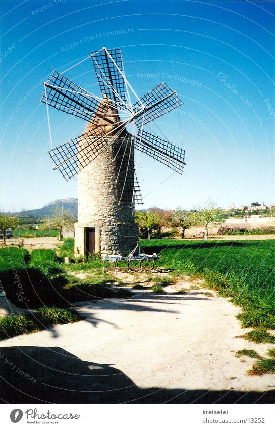 Sky Vacation & Travel Wind Majorca Spain Windmill Mill Blue-green