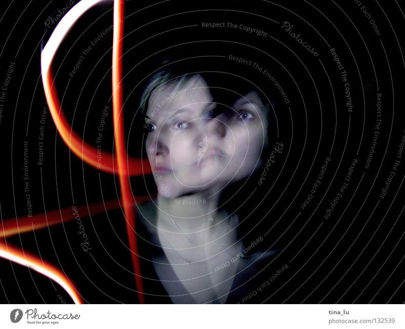 Woman Green Red Black Lamp Dark Dress Stripe Radiation Ghosts & Spectres  Traffic light Mystic Double exposure Visual spectacle Phenomenon Beam of light