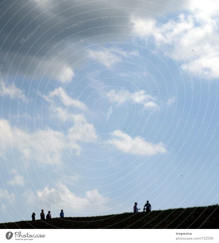 silhouettes Human being To go for a walk Black Clouds 6 Horizon Sky Bad weather Heavenly Infinity Life Going Gray Summer Blue Nature Silhouette Weather Walking