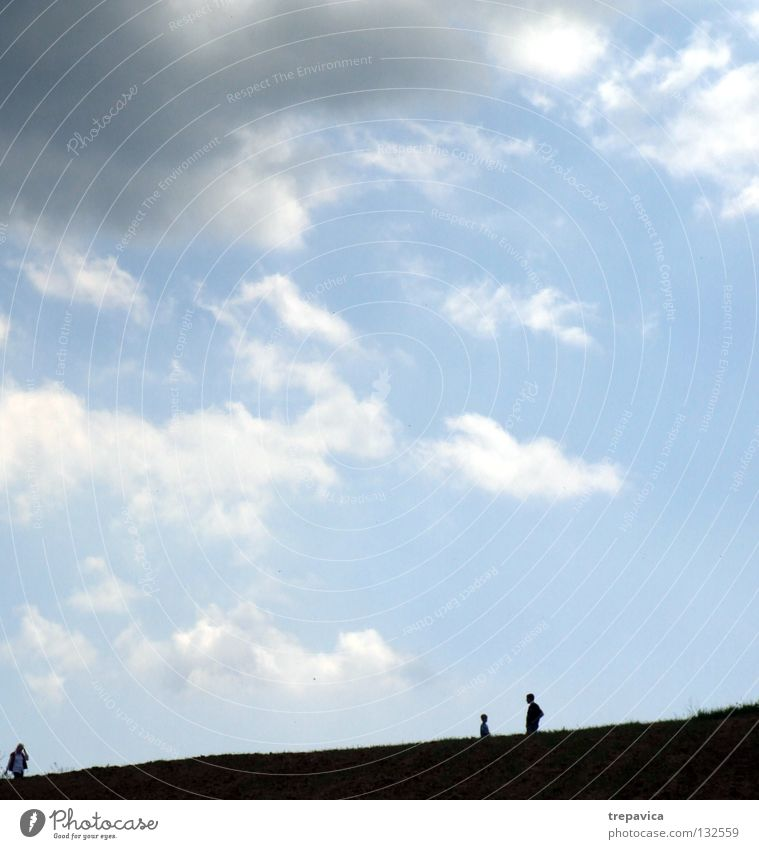 silhouettes II Human being To go for a walk Black Clouds 3 Horizon Sky Bad weather Heavenly Infinity Life Going Gray Summer Blue Nature Silhouette Weather