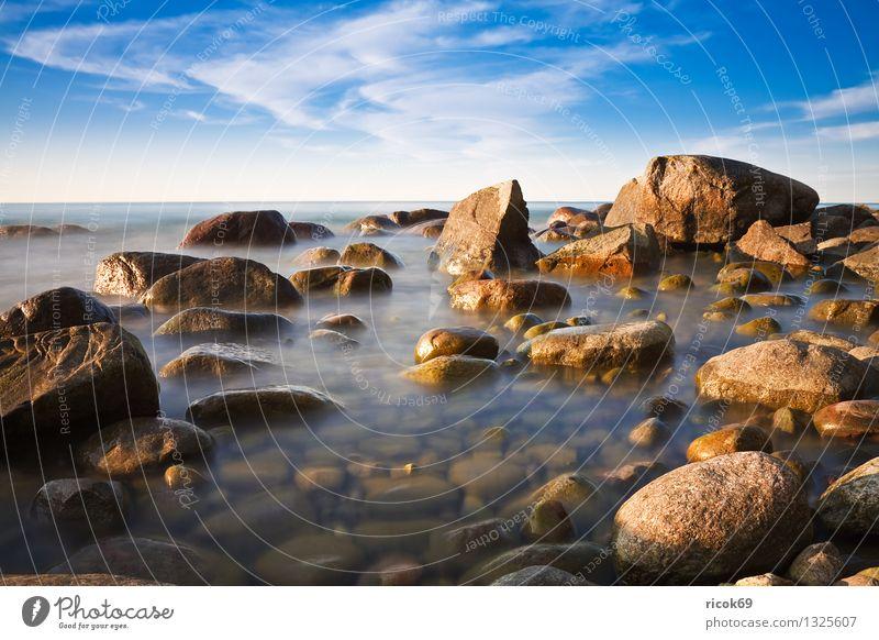 Baltic coast Vacation & Travel Beach Nature Landscape Water Clouds Rock Coast Baltic Sea Ocean Stone Blue Romance Idyll Calm Tourism Stone block Sky Rügen Lohme
