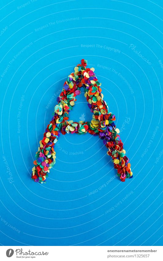 A Art Work of art Esthetic Letters (alphabet) Typography Alphabetical Creativity Design Idea Multicoloured Confetti Blue Many Mosaic Colour photo Interior shot