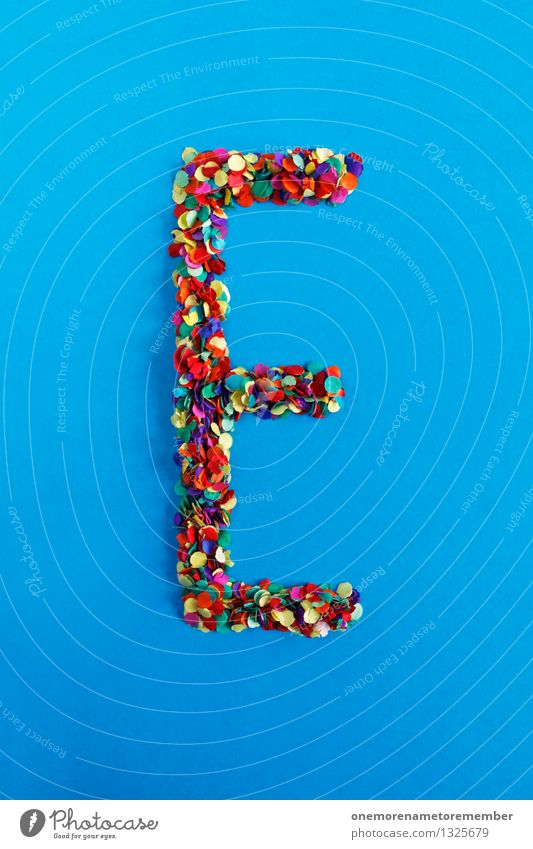 e Art Work of art Esthetic Letters (alphabet) Typography Alphabetical Confetti Design Creativity Idea Blue Multicoloured Colour photo Interior shot Experimental