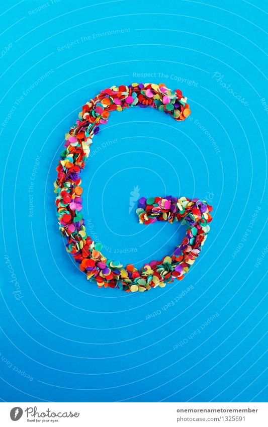 g Art Work of art Esthetic Letters (alphabet) Typography Alphabetical Blue Confetti Creativity Idea Design Colour photo Multicoloured Interior shot Detail