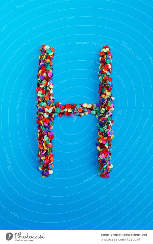 h Art Work of art Esthetic H Letters (alphabet) Typography Blue Confetti Design Creativity Multicoloured Colour photo Interior shot Experimental Abstract