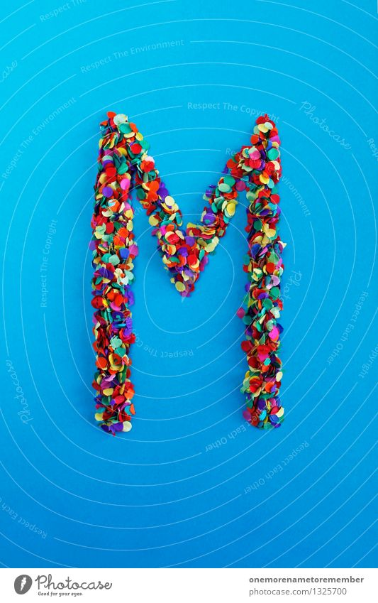 m Art Work of art Esthetic M Letters (alphabet) Typography Latin alphabet Blue Confetti Creativity Idea Design Multicoloured Many Point Colour photo