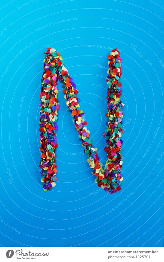 n Art Work of art Esthetic N Letters (alphabet) Typography Alphabetical Blue Confetti Multicoloured Many Point Home-made Creativity Idea Design Colour photo