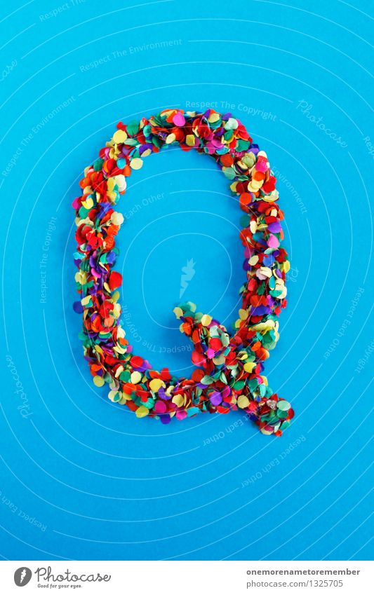 Q Art Work of art Esthetic q Letters (alphabet) Typography Alphabetical Confetti Many Point Multicoloured Design Creativity Idea Colour photo Interior shot