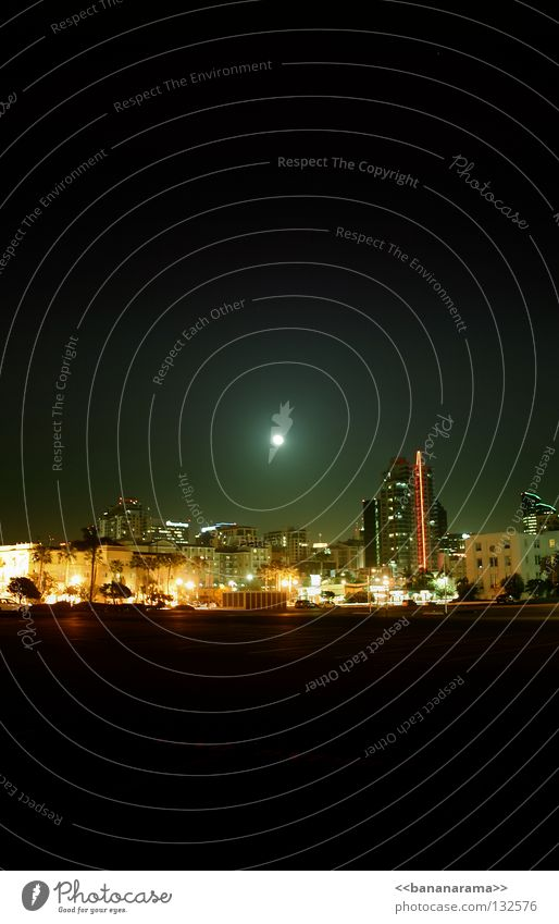 San Diego Night High-rise House (Residential Structure) Downtown California Los Angeles Long exposure Panorama (View) Skyline San Diego County Light Moon La