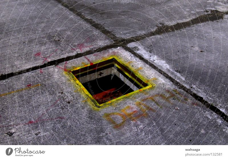 Death Graffiti Dirty Concrete Industry Floor covering Derelict Decline Hollow Mural painting