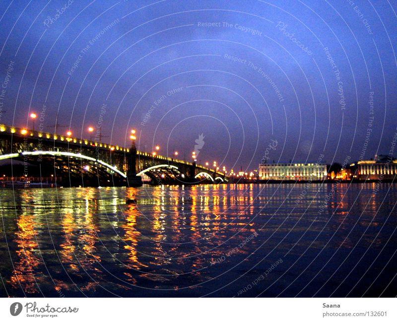 The evening at the Neva Mirror Beach Bridge River Brook neva St Petersburg Evening Landscape Light Water Blue sky Coast