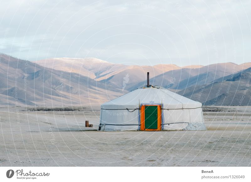 Mongolia Expedition Living or residing Flat (apartment) House (Residential Structure) Meadow Hill Desert Gobi Steppe Asia yurt ger Tent Nomad tent Facade Door