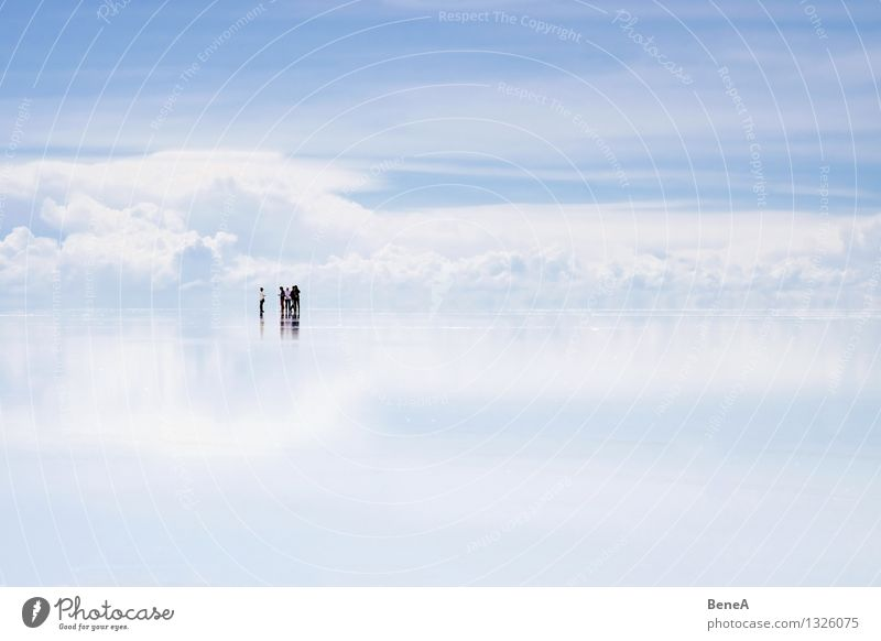 Human being Sky Nature Water Loneliness Landscape Clouds Far-off places Small Group Lake Friendship Horizon Tourism Stand Elements