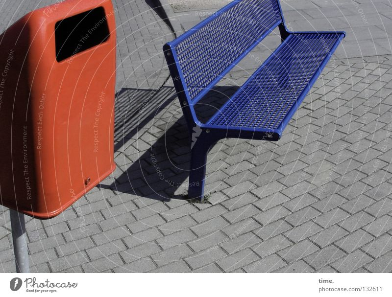 Relaxation Stone Metal Places Corner Break Communicate Bench Open Furniture Traffic infrastructure Cobblestones Seating Grid Grating Trash container