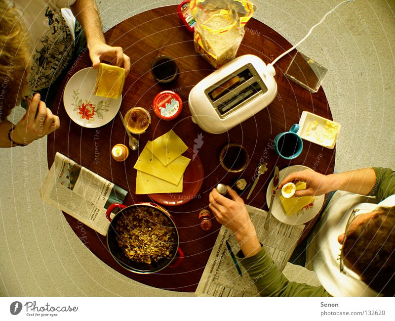 Good morning! Good morning! Breakfast Toaster Cheese Wide angle Nutrition Table Round Above Together Newspaper Coffee Kitchen flat share Eating