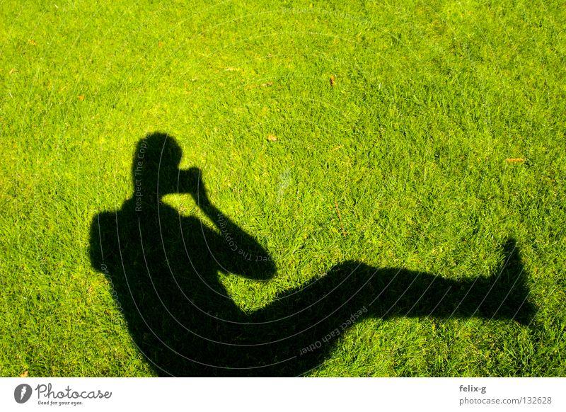 Lawn man #4 Grass Hand Drop shadow Light Green Bright green Photography Shadow Human being Legs Sun Contrast Camera