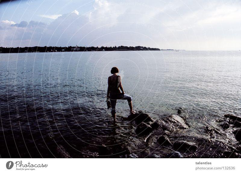 Woman Ocean Summer Stone Sadness Lake Think Coast Grief Romance Distress Surf Lake Constance Evening sun