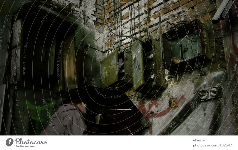 Human being Man Old Loneliness Gray Fear Broken Protection Umbrella Derelict Ruin Panic Shield Surveillance Hiding place
