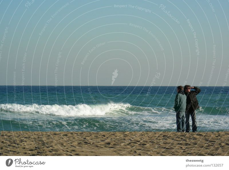 Ocean Beach Coast Sand Couple Horizon Together Waves In pairs Search Romance Vantage point Longing Divide Partner Single