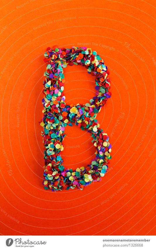 B Art Esthetic b Letters (alphabet) Typography Greek alphabet Orange-red Design Confetti Creativity Idea Mosaic Colour photo Multicoloured Interior shot