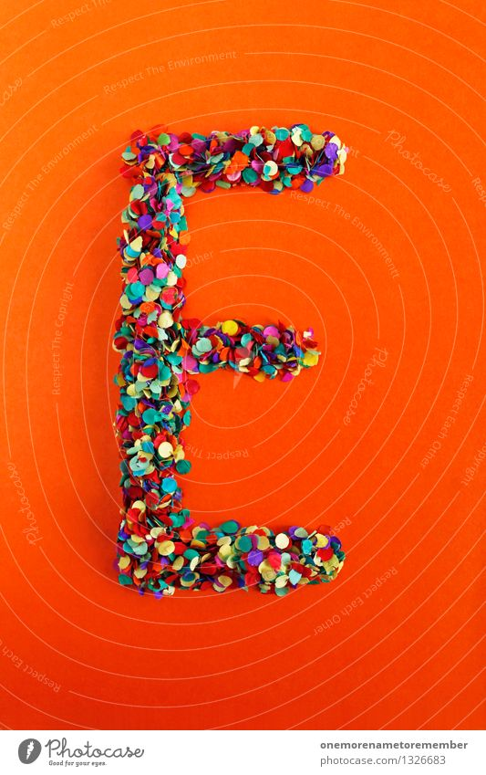 e Art Work of art Esthetic Letters (alphabet) Typography Alphabetical Orange-red Creativity Idea Confetti Design Colour photo Multicoloured Interior shot Detail