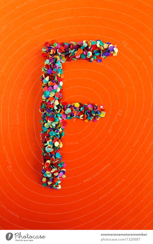 f Art Work of art Esthetic Letters (alphabet) Typography Latin alphabet Orange-red Creativity Idea Confetti Design Colour photo Multicoloured Interior shot