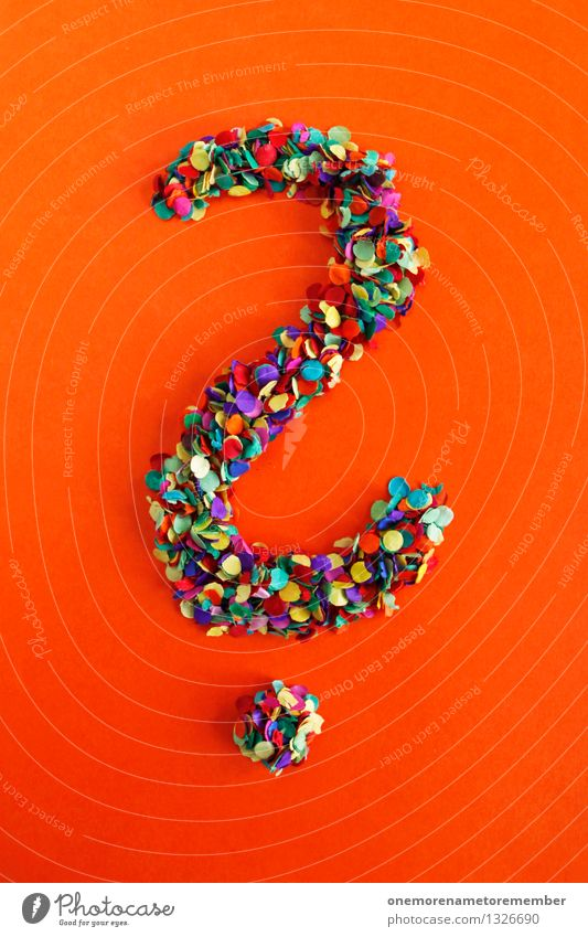 Art Esthetic Letters (alphabet) Point Many Typography Work of art Confetti Mosaic Question mark Orange-red Punctuation mark
