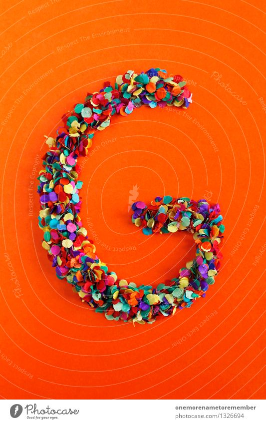 g Art Work of art Esthetic Letters (alphabet) Typography Latin alphabet Orange-red Creativity Idea Design Confetti Multicoloured Colour photo Interior shot