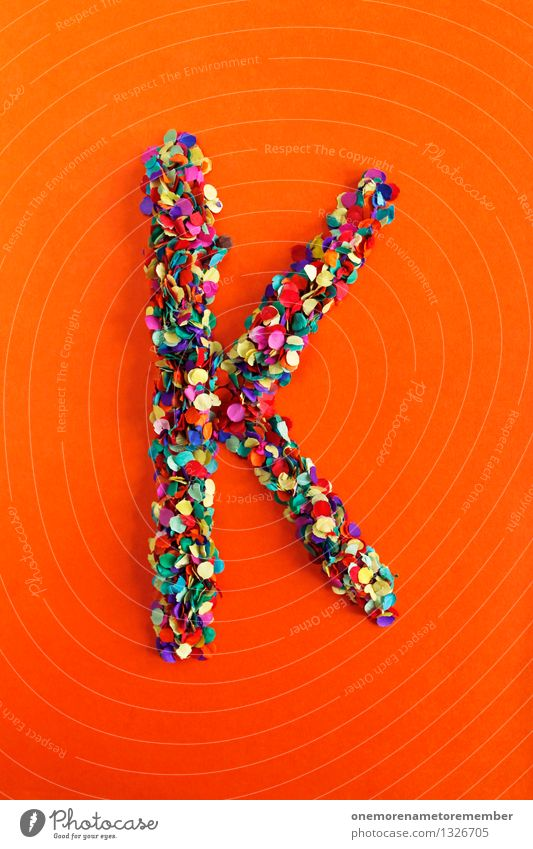 K Art Work of art Esthetic Letters (alphabet) Typography Alphabetical Orange-red Confetti Creativity Idea Design Colour photo Multicoloured Interior shot Detail