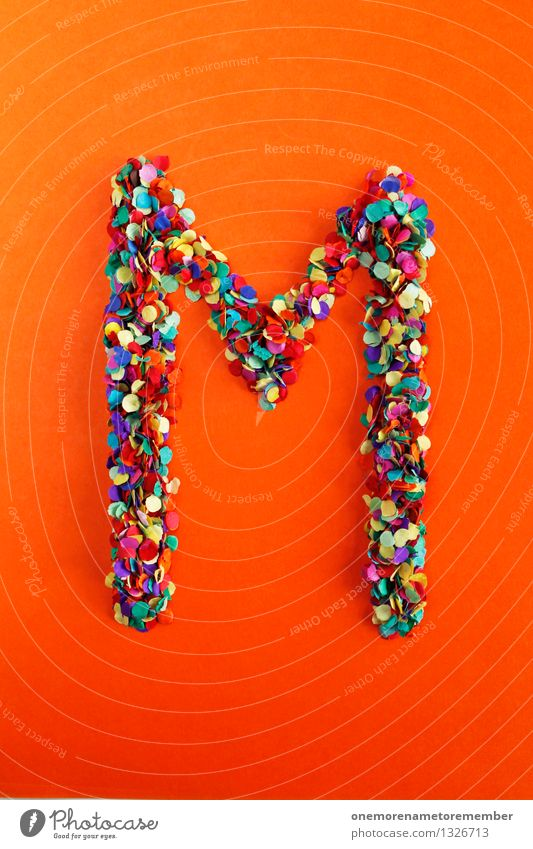 m Art Work of art Esthetic M Letters (alphabet) Typography Alphabetical Orange-red Confetti Multicoloured Design Idea Creativity Colour photo Interior shot