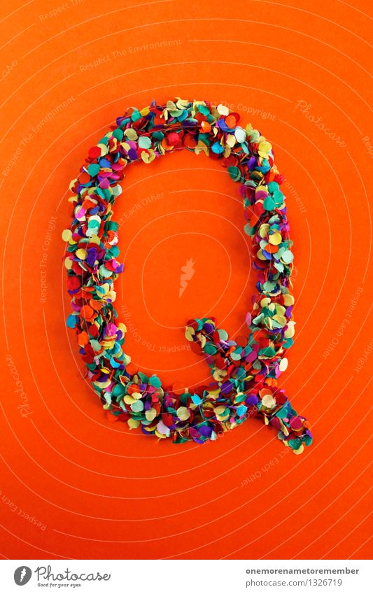Q Art Work of art Esthetic q Letters (alphabet) Typography Alphabetical Orange Red Confetti Creativity Idea Multicoloured Design Colour photo Interior shot