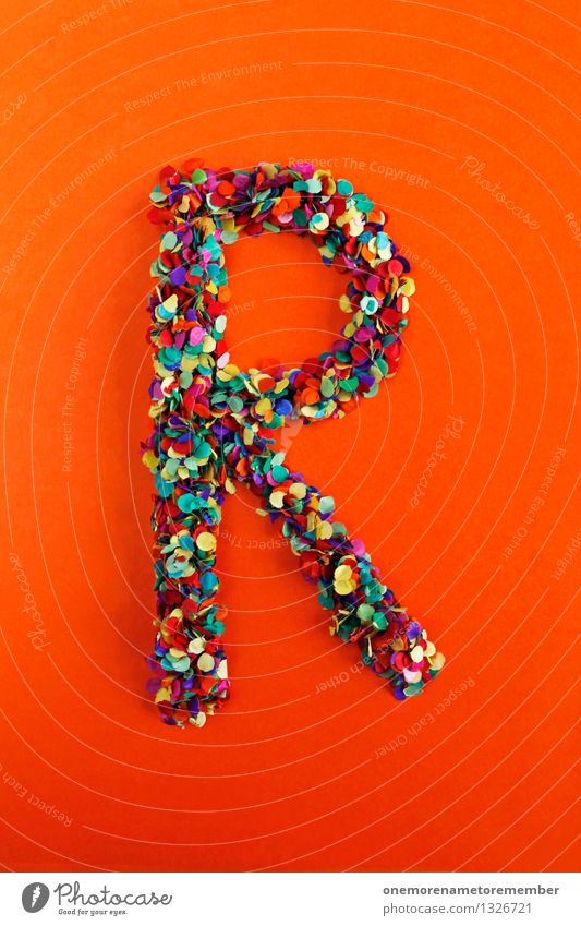 R Art Work of art Esthetic Letters (alphabet) Typography Alphabetical Red Orange Multicoloured Confetti Creativity Idea Design Colour photo Interior shot