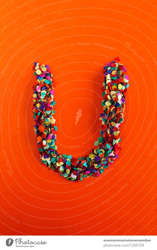U Art Work of art Esthetic Letters (alphabet) Typography Alphabetical Orange Red Confetti Creativity Idea Design Colour photo Multicoloured Interior shot